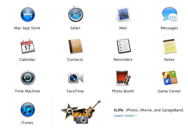 Apple iMac apps table
