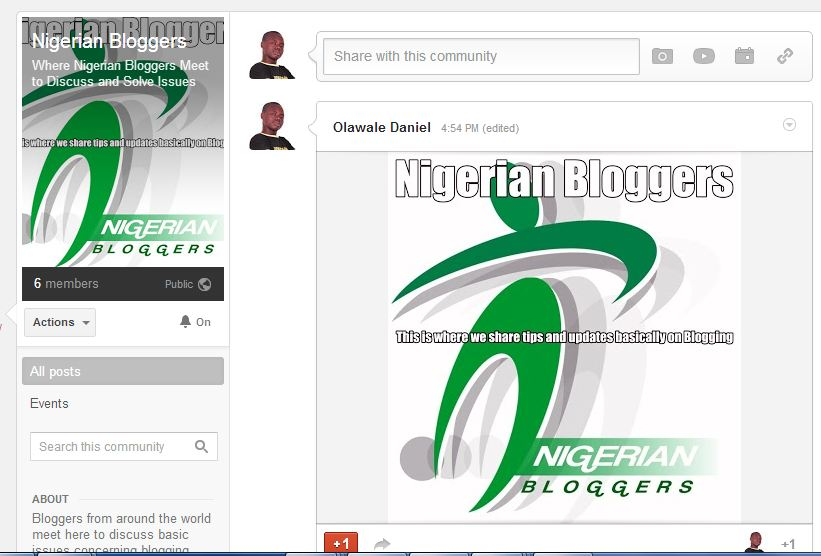Google+ communities for Nigerian Bloggers Meet is now live