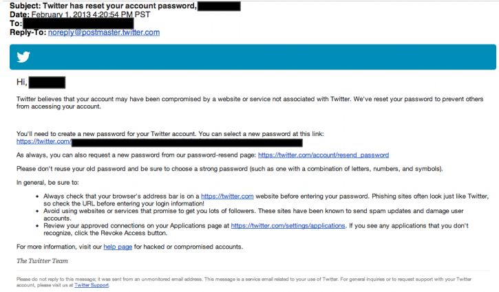 Twitter hack Email